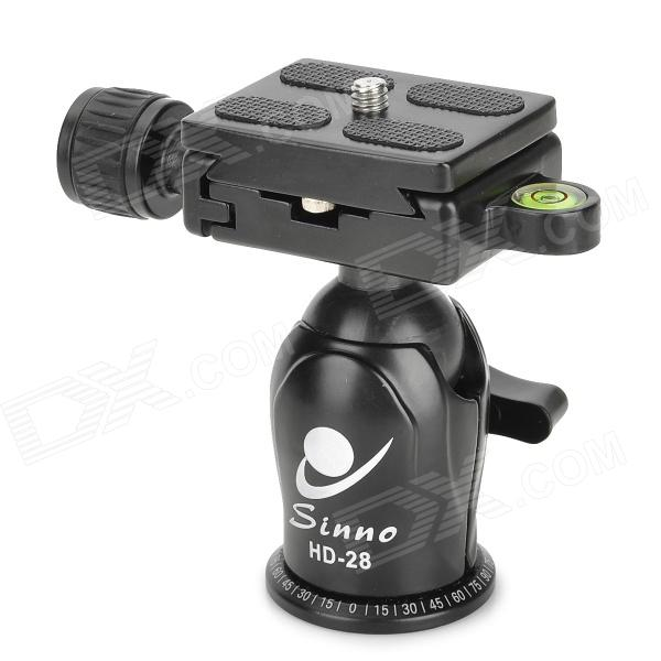 SINNO HD-28 Aluminum Alloy 28mm Ball Head w/ Scale Quick Release Plate - Black ye 306 aluminium magnesium alloy ball head w quick release plate adapter black