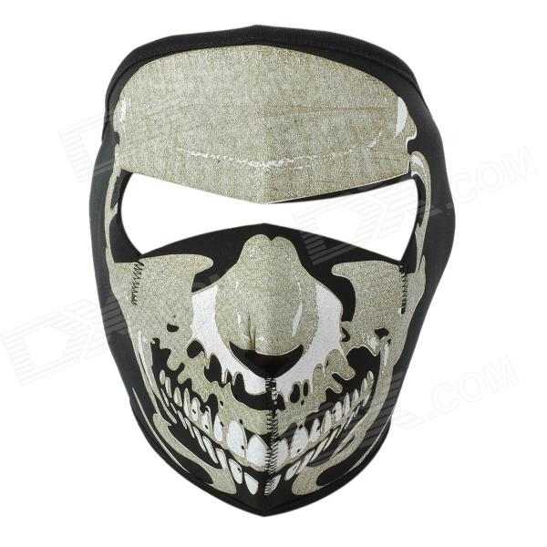 Cool Pattern CS Game Neoprene Facial Mask - Black + White airsoft adults cs field game skeleton warrior skull paintball mask