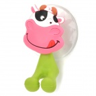 Cartoon Cow Style PVC Toothbrush Holder w/ Suction Cup - Multicolored