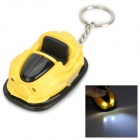 Mini Creative Racing Car White Light LED Keychain w/ Sound Effect - Yellow + Black (3 x AG10)