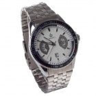 ORKINA P0028 Stainless Steel Band Men's Quartz Wrist Watch + Simple Calendar - Silver (1 x LR626)