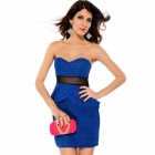 LC2743-1 Fashionable Sexy Mesh Waisted Glitter Peplum Dress for Women - Blue (Size-L)