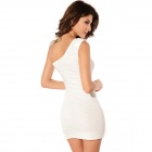LC2682-1 Sexy Rose Patroon van de Single-schouder Mini Dress onder Women-White (Maat-L)