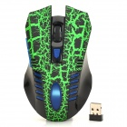 Lava Pattern 2.4GHz Wireless 800 / 1200 / 1600 / 2400dpi Gaming Mouse - Black + Green + Blue