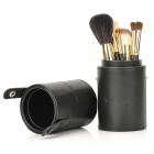 Fashion 7-in-1 Cosmetic Makeup Brushes Set - Black