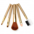 307# 5-in-1 Cosmetic Facial Makeup Brushes Set w/ PU Bag - Golden