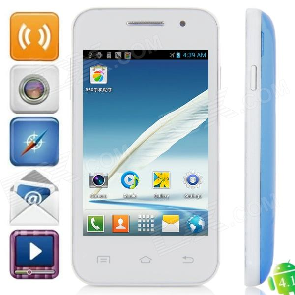 Mini 7100 Android 2.3.5 GSM Bar Phone w/ 3.5″ Capacitive Screen, Dual-Band and Wi-Fi – White + Blue