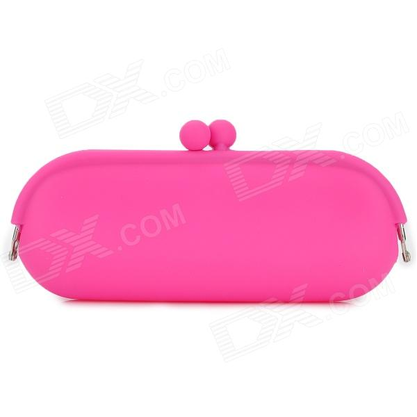 Stylish Silicone Small Change Cosmetic Clutch Bag - Deep Pink