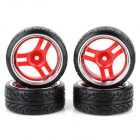1:10 R/C Drifting Car 6-Spoke Plastic Wheel - Black + Red + Silver (4 PCS)