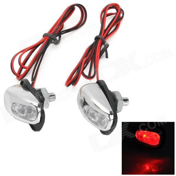 ART-888 Car Wiper Water Spray Nozzle Sprinkler Head w/ 0.1w 8lm Red LED - Silver (2 PCS)