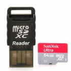 SanDisk Ultra Micro SDHC / TF Memory Card w/ Card Reader - Red + Grey (64GB / Class 10)