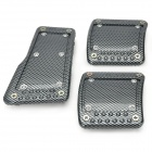 HT-7008 Aluminum Alloy Car Non-Slip Pedals Set - Black + Grey (3 PCS)