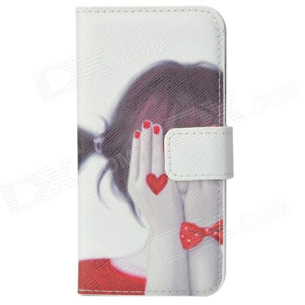Girl Blindfold Her Eyes Painting PU Leather Flip Open Case for Iphone 5 - Red + Black + White рюкзак girl pu yt00172334