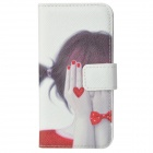 Girl Blindfold Her Eyes Painting PU Leather Flip Open Case for Iphone 5 - Red + Black + White