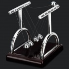 """Y"" Type Newton's Cradle Balance Balls Science Pendulum Desktop Toy - Red Brown + Silver (2 PCS)"