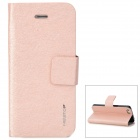 Newtop Protective PU Leather Flip Open Case w/ Card Slot for iPhone 5 - Pink + Grey + Black