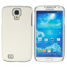 Fashion Electroplate PU Leather Back Case for Samsung Galaxy S4 i9500 - White + Silver