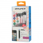 AWEI S90vi Super Bass In-ear Style Earphone w/ Microphone / Volume Control - Black + Red