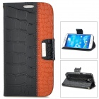 Creative Crocodile Skin Style PU Leather Case for Samsung Galaxy S4 i9500 - Black + Brown