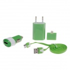 Car Charger + EU Plug Charger + 30-Pin to USB Cable + Lightning 8-Pin Adapter for iPhone 4 / 4S / 5
