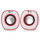 WuJiXian 3105 Universal 3W X 2 Mini Portable USB Powered Speaker w/ 3.5mm Jack- White + Red (2 PCS)