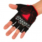SPAKCT Outdoor Cycling Riding Half Finger Gloves w/ Protective Pad - Black + White + Red  (Pair L)