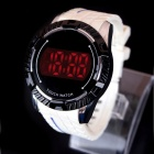 LUWEITE 8016 Fashionable Stainless Steel Dial Men's Digital Wrist Watch - White + Black (1 x CR2032)