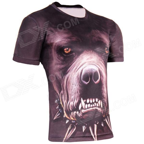 LAONONGZHUANG Cool 3D Dog Head Artificial Fiber T-Shirt for Men ...