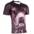 LAONONGZHUANG Cool 3D Dog Head Artificial Fiber T-Shirt for Men - Brown + Black (XXL)