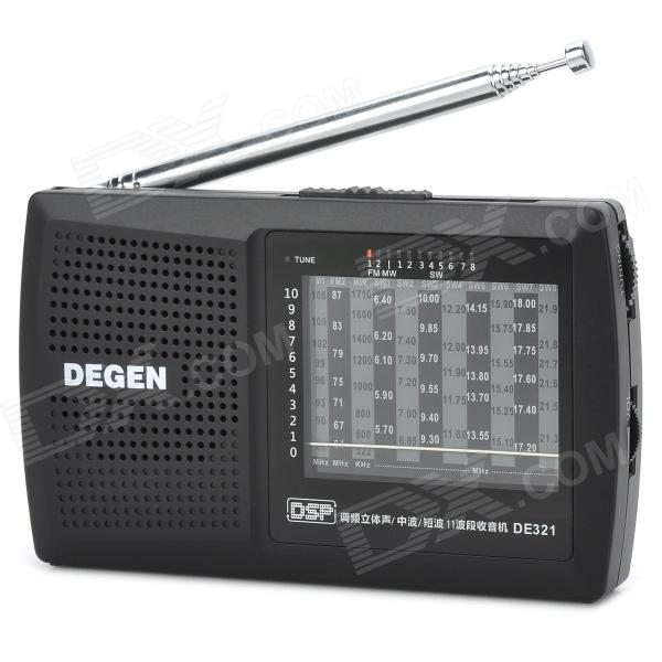 DEGEN DE321 DSP Full-band FM / MW / SW Radio w/ 3.5mm Jack + Strap - Black + Silver (2 x AA) tivdio portable fm radio dsp fm stereo mw sw lw portable radio full band world receiver clock