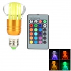 E27 3W LED RGB Light Bulb w/ 24-Key Remote Controller - Multicolored (85~265V)