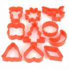 Geometrical Shapes Plastic DIY Biscuit Cookie Cutter Mold - Red (10 PCS)