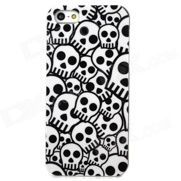 Protective Small Skull Pattern Plastic Back Case for Iphone 5 - White + Black skull pattern protective plastic hard case w screen protector for iphone 5 black white