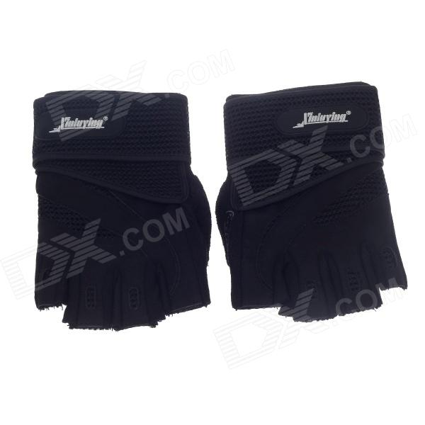 XLY216 Stylish Professional Anti-Skid Fitness Half-Finger Gym Gloves - Black (Size M / Pair)