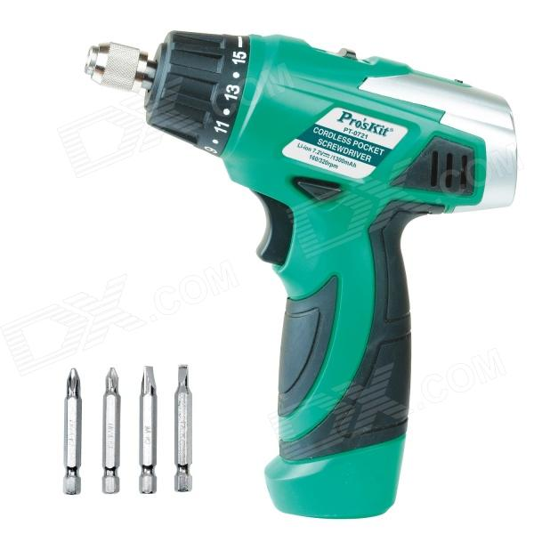Pro'skit PT-0721F Rechargeable Cordless Pocket Screwdriver - Green (AC 230V / 50Hz) 12v cordless electric drill screwdriver power tools with lithium battery and two speed adjustment for handling screw punching