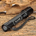 HHL-SDT-01-HEISE 1W LED Cold White 3-Mode Flashlight w/ Strap - Black (1 x 18650)