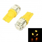 Merdia T10 5W 60lm 580nm 5-SMD 5050 LED Yellow Light Car Reading Light - (DC 12V / 2 PCS)