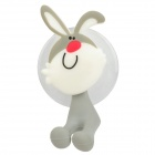 Cute Cartoon Rabbit Style Suction Cup Mount PVC Toothbrush Holder - Grey + White