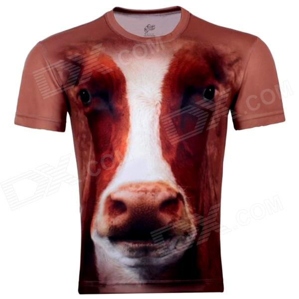 LAONONGZHUANG 3D Cow Head Short Sleeve T Shirts for Men - Brown + White (XXL) trendy skull head pattern fashion slim men s t shirt white size xxl