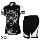 Men's Stylish Sporty Jersey + Short Pants Cycling Outfit - Black + White (XXL)