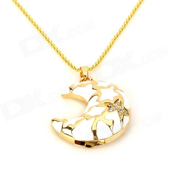 HYT-MOON001 Fashion Moon Shape Crystal Necklace w/ USB Flash Drive - Golden + White (8GB)