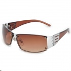 Panlees JHS3231 Stylish PC Lens + Aluminum Alloy Frame UV400 Sunglasses - Brown + Silver