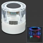 F8 Tragbare Mini-USB Powered 3W bunte Licht MP3 Speaker w / TF / FM-Radio - Weiß