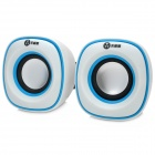 WuJiXian Mini 2-CH USB Portable Speaker - White + Blue