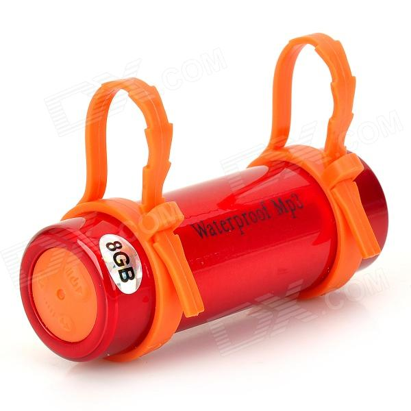 T-01 Swimming Diving Waterproof MP3 Player w/ Earphone - Red + Orange (8GB)