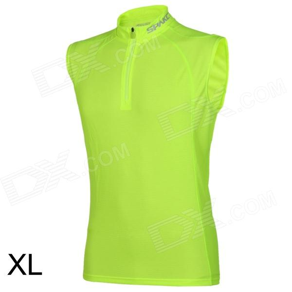 Spakct Sport Cycling Polyester + Spandex T-shirt for Men - Fluorescent Green (Size XL) spakct cool006 knuckle riding cycling gloves black white red xl 21cm