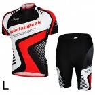 Mountainpeak Men's Stylish Sporty Jersey + Short Pants Cycling Outfit - Black + White + Red (L)
