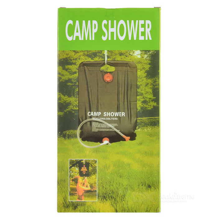 LX-HL1027 Outdoor Camping Solar Bathing Hanging Water Bag - Black (20L)