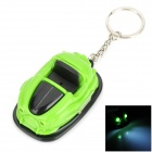 6011 Sports Car Style Decorative Plastic Key Chain w/ 2-LED White Light - Black  + Green (3 x AG10)