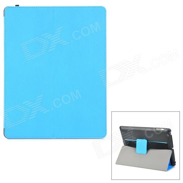 WP-34 Stylish Protective PU Leather Smart Case w/ Holder for Ipad 3 / 4 - Blue + Black multi function pu leather case vent holes sound amplifier for ipad 3 4 orange